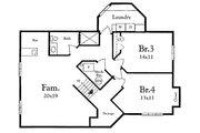 Mediterranean Style House Plan - 2 Beds 2 Baths 1292 Sq/Ft Plan #409-108 Floor Plan - Lower Floor Plan