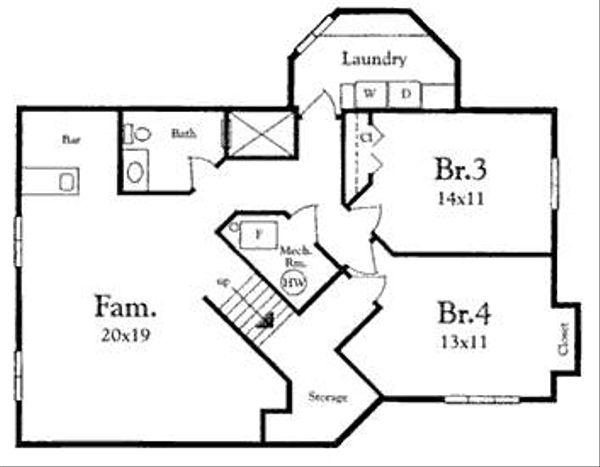 Mediterranean Floor Plan - Lower Floor Plan Plan #409-108