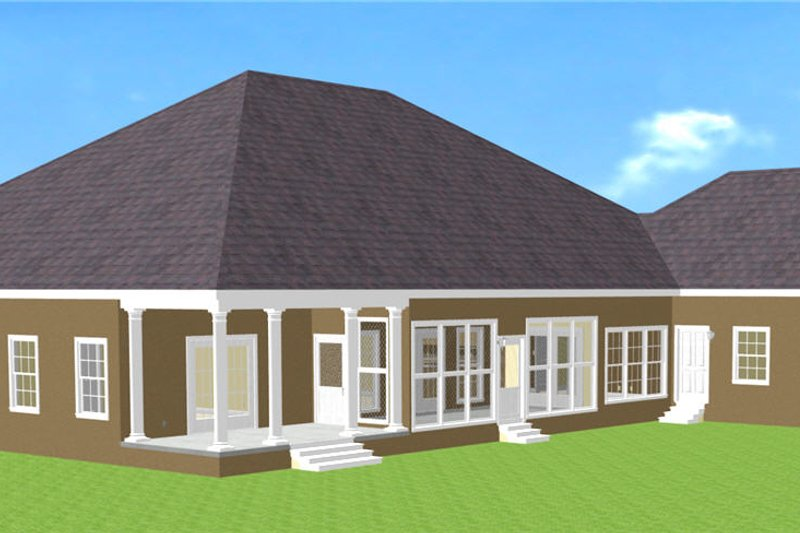 Southern Exterior - Rear Elevation Plan #44-127 - Houseplans.com