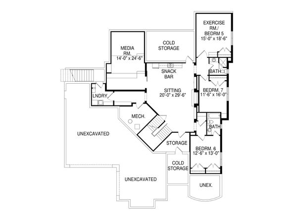 Contemporary Style House Plan - 7 Beds 5.5 Baths 5850 Sq/Ft Plan #920-85 Floor Plan - Lower Floor Plan
