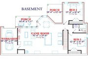European Style House Plan - 5 Beds 3 Baths 3257 Sq/Ft Plan #63-127 Floor Plan - Lower Floor Plan