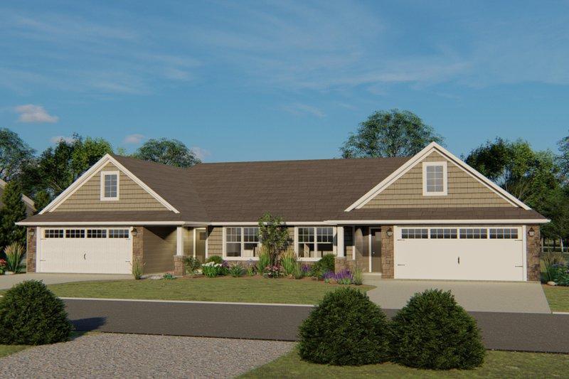 Craftsman Exterior - Front Elevation Plan #1064-38