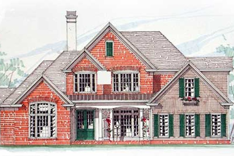 Architectural House Design - Southern Exterior - Front Elevation Plan #54-172