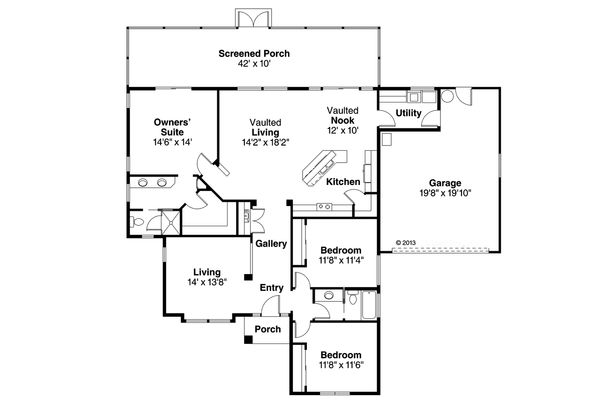 Mediterranean Floor Plan - Main Floor Plan Plan #124-228