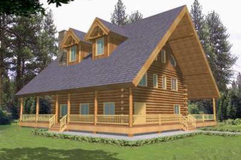 Log Exterior - Front Elevation Plan #117-417