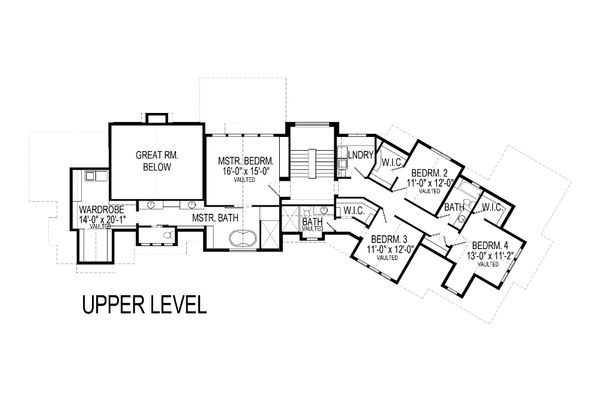 Craftsman Floor Plan - Upper Floor Plan Plan #920-23