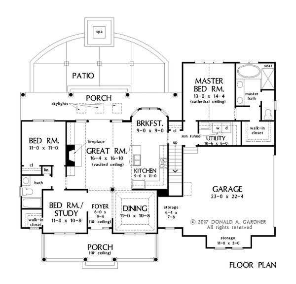 Farmhouse Floor Plan - Main Floor Plan Plan #929-1044