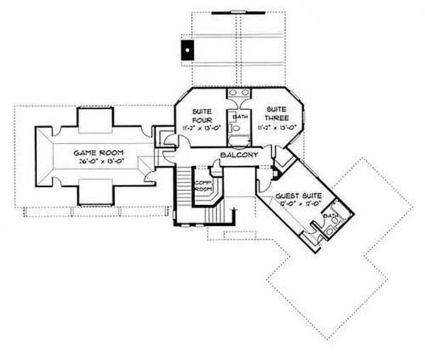 European Floor Plan - Upper Floor Plan Plan #413-100