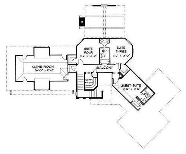 European Floor Plan - Upper Floor Plan #413-100