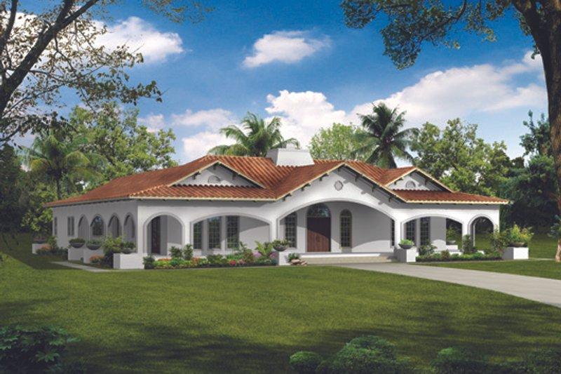 Mediterranean Style House Plan - 4 Beds 2.5 Baths 2539 Sq/Ft Plan #72-485