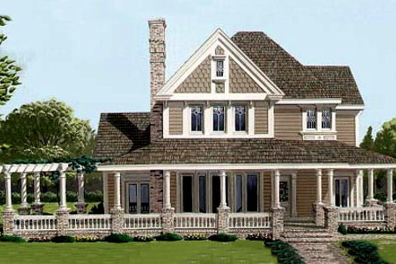 Victorian Style House Plan - 4 Beds 3 Baths 2213 Sq/Ft Plan #410-112 Exterior - Front Elevation