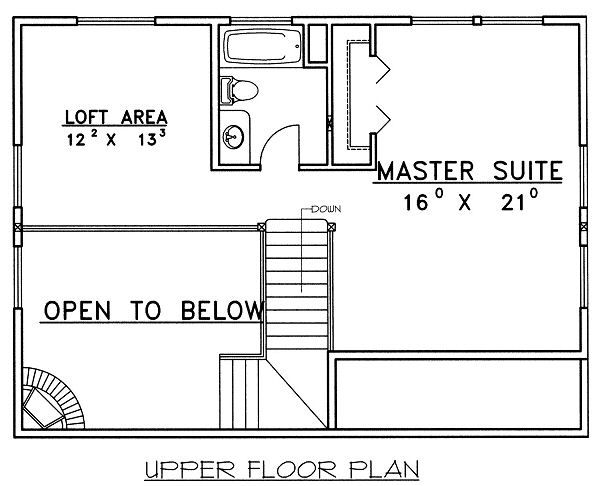 Traditional Floor Plan - Upper Floor Plan Plan #117-544