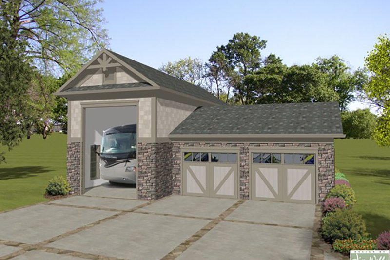 Craftsman Style House Plan - 0 Beds 0 Baths 1252 Sq/Ft Plan #56-614 Exterior - Front Elevation