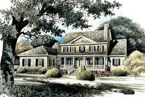 Home Plan Design - Colonial Exterior - Front Elevation Plan #429-21