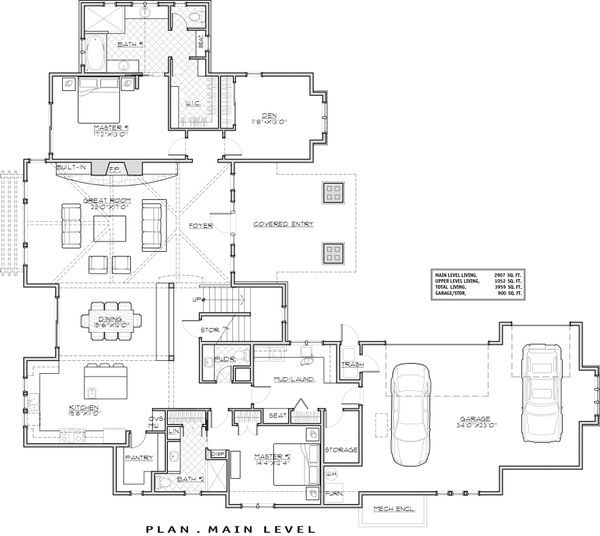 House Plan Design - Craftsman Floor Plan - Main Floor Plan #892-16