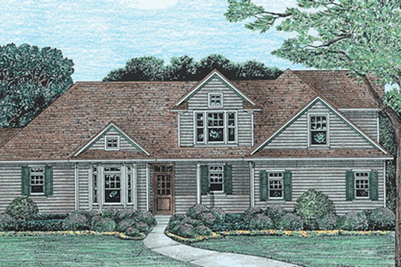 Traditional Style House Plan - 3 Beds 2.5 Baths 1902 Sq/Ft Plan #20-612 Exterior - Front Elevation