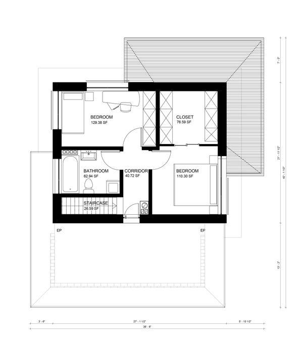 Contemporary Floor Plan - Upper Floor Plan Plan #906-8