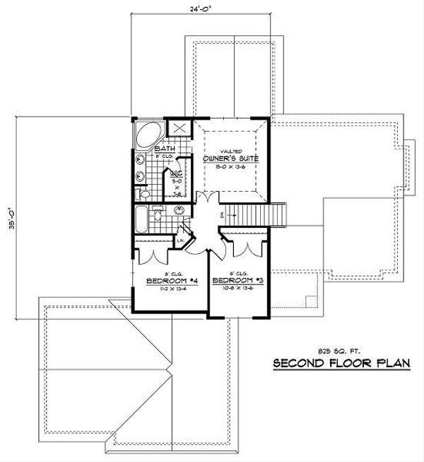 Traditional Floor Plan - Upper Floor Plan Plan #51-254