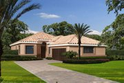 Mediterranean Style House Plan - 3 Beds 2.5 Baths 1836 Sq/Ft Plan #420-255 Exterior - Front Elevation