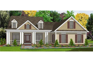 Southern Exterior - Front Elevation Plan #63-164