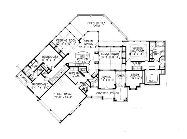 Craftsman Floor Plan - Main Floor Plan Plan #54-415