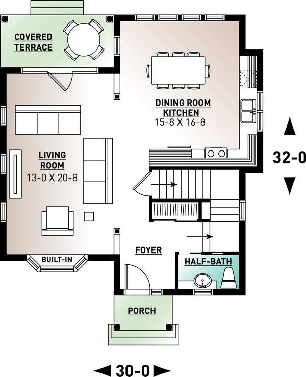 Country Floor Plan - Main Floor Plan Plan #23-2240