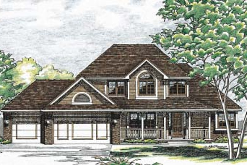Traditional Exterior - Front Elevation Plan #20-718 - Houseplans.com