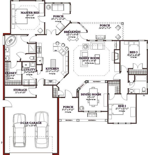Traditional Floor Plan - Main Floor Plan Plan #63-195