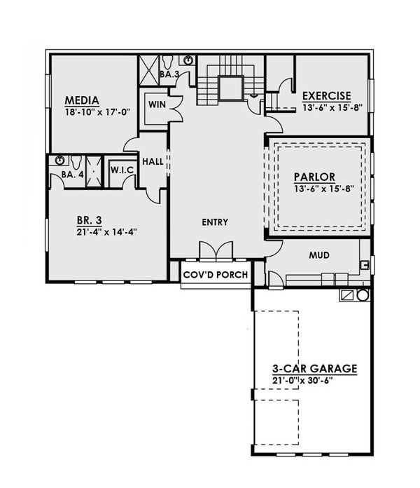 Contemporary Floor Plan - Main Floor Plan Plan #1066-24