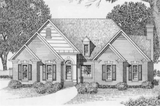 European Exterior - Front Elevation Plan #129-129