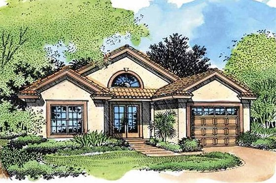 Mediterranean Exterior - Front Elevation Plan #320-420
