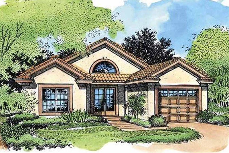 Mediterranean Style House Plan - 2 Beds 2 Baths 1042 Sq/Ft Plan #320-420 Exterior - Front Elevation