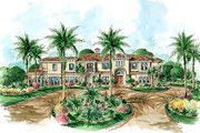 Mediterranean Style House Plan - 4 Beds 4.5 Baths 4802 Sq/Ft Plan #27-214 Exterior - Front Elevation