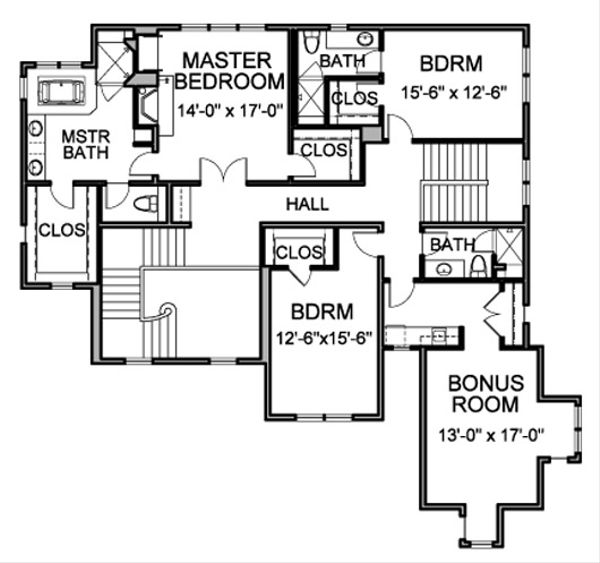 Traditional Floor Plan - Upper Floor Plan Plan #490-14