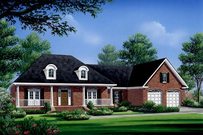 Southern Style House Plan - 3 Beds 2.5 Baths 2004 Sq/Ft Plan #21-175 Exterior - Front Elevation