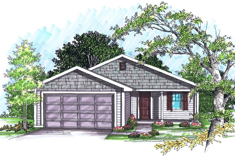 Ranch Exterior - Front Elevation Plan #70-1017
