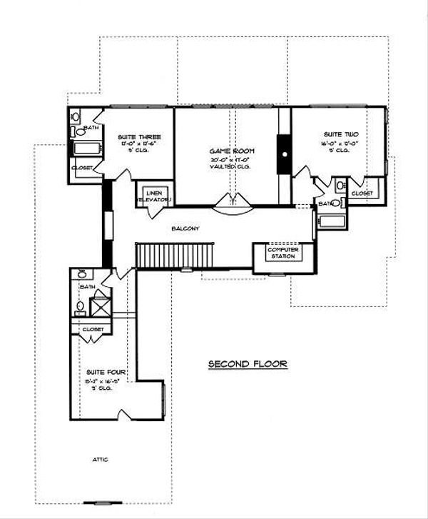 European Floor Plan - Upper Floor Plan Plan #413-145