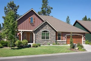 Architectural House Design - Front View - 2000 square foot Craftsman home