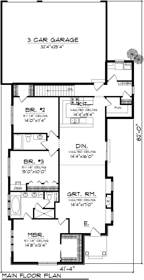Ranch Floor Plan - Main Floor Plan Plan #70-1113
