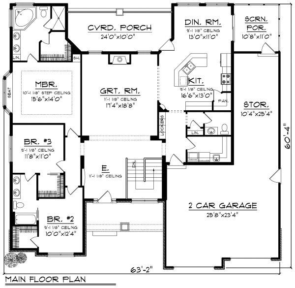 Ranch Floor Plan - Main Floor Plan Plan #70-1167