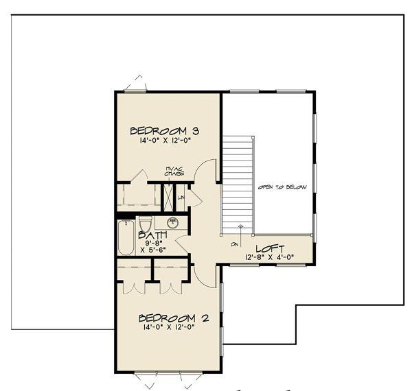 Contemporary Floor Plan - Upper Floor Plan Plan #17-3426
