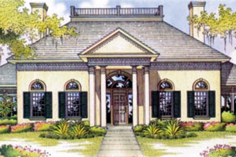 Southern Style House Plan - 4 Beds 4 Baths 3475 Sq/Ft Plan #45-171 Exterior - Front Elevation