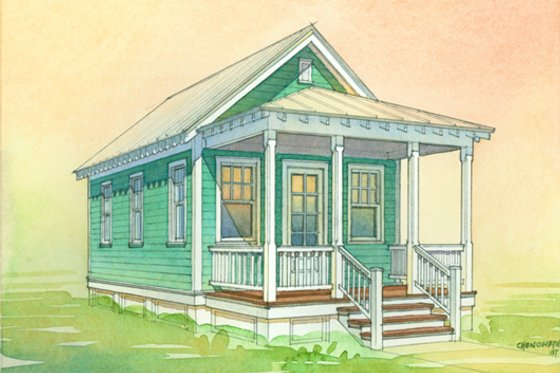 Cottage Exterior - Front Elevation Plan #514-2