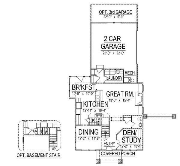 Craftsman Floor Plan - Main Floor Plan Plan #458-12