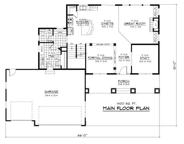 Colonial Floor Plan - Main Floor Plan Plan #51-280