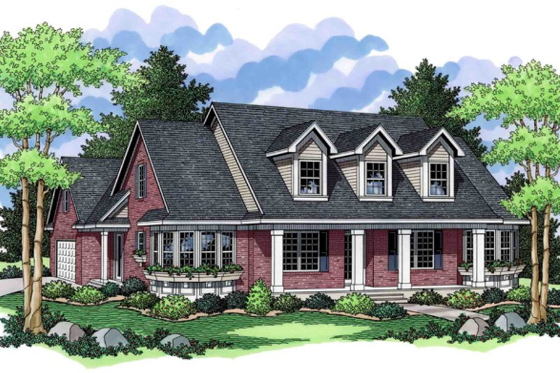 Southern Style House Plan - 3 Beds 2 Baths 2929 Sq/Ft Plan #51-465 Exterior - Front Elevation