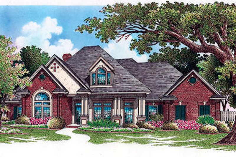 European Style House Plan - 4 Beds 4 Baths 2710 Sq/Ft Plan #45-250 Exterior - Front Elevation
