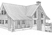 Log Style House Plan - 2 Beds 2 Baths 2112 Sq/Ft Plan #451-5 Exterior - Rear Elevation