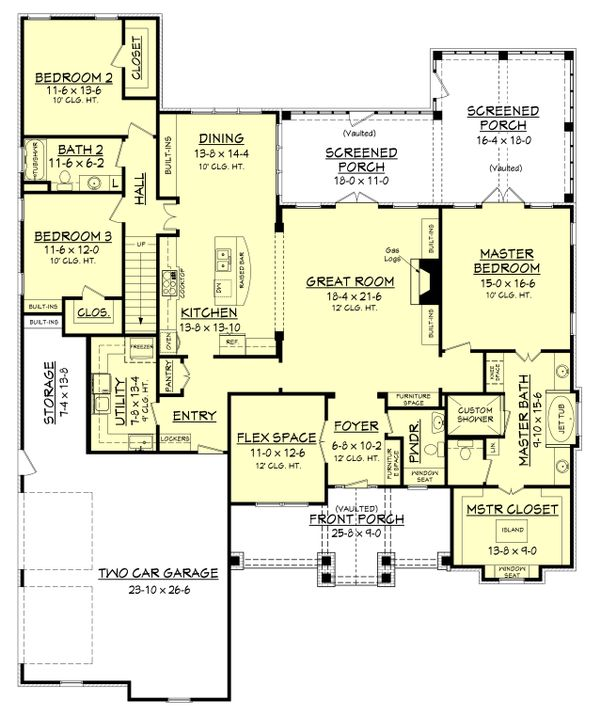House Design - Craftsman Floor Plan - Main Floor Plan #430-148