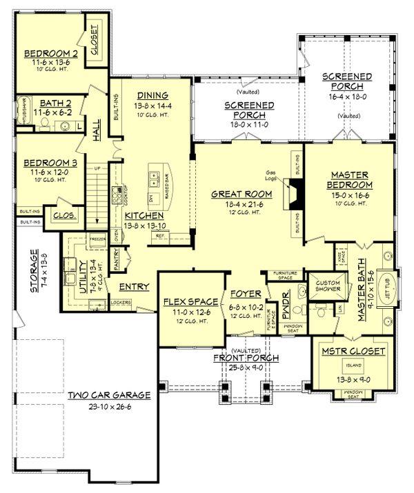 Craftsman Style House Plan - 3 Beds 2.5 Baths 2597 Sq/Ft Plan #430-148 Floor Plan - Main Floor Plan